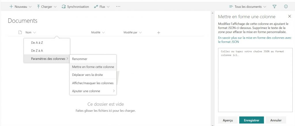 blog ai3 sp-modernui-column-formating-menu-1024x440 Un petit point sur Modern UI des sites Sharepoint Online