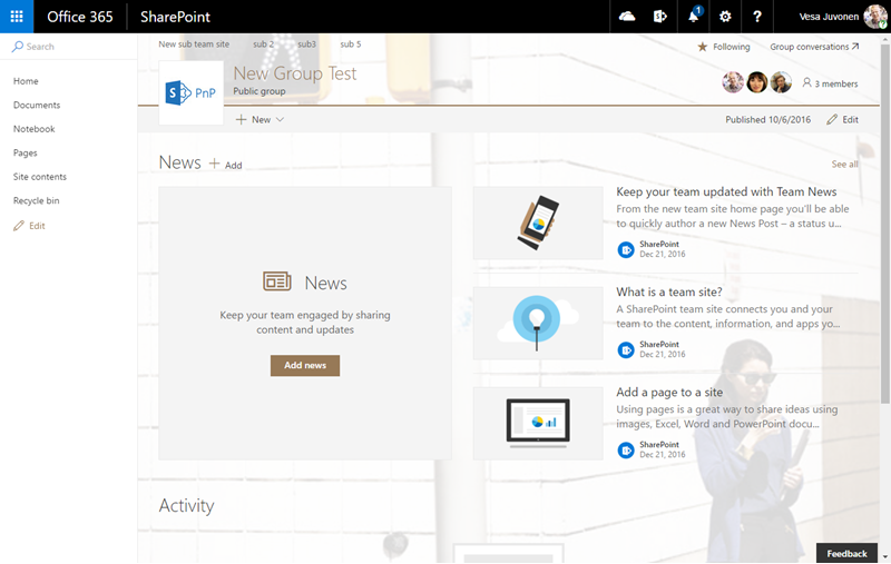 blog ai3 sp-modernui-site-with-custom-theme Un petit point sur Modern UI des sites Sharepoint Online
